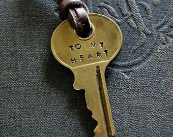 Key To My Heart Necklace - Key of Love - I Love You - Hand Stamped Key - Key Necklace - Husband - Wife - Boyfriend - Girlfriend