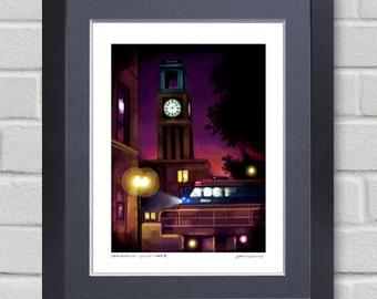 Chicago art - Ravenswood Clocktower - iPad finger painting of Chicago landmark