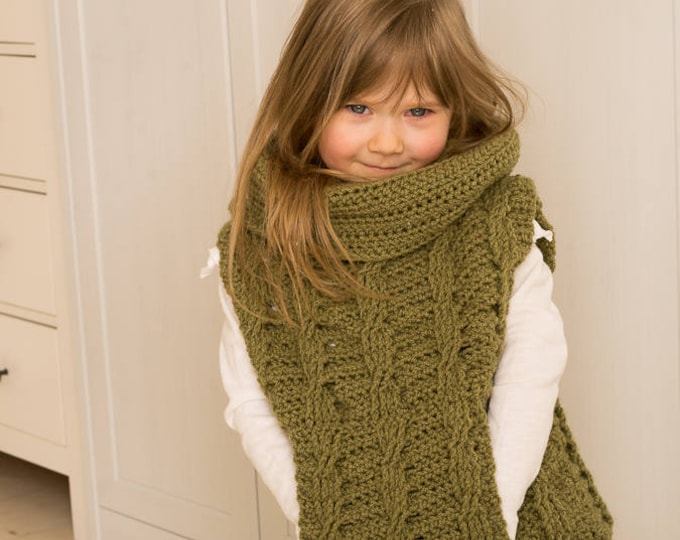 CROCHET PATTERN cable poncho Cora with pocket and oversized cowl (kids and adult sizes)