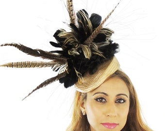 Gold and Brown Kaddho Hat for Kentucky Derby, Weddings & Proms