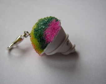 Rainbow Snow Cone Charm, Polymer Clay Snow Cone, Food Jewelry, Miniature Snow Cone Pendant, Miniature Food, Shaved Ice Charm