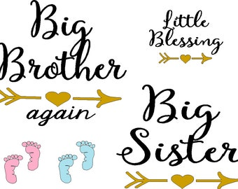 Big Brother Again x5, Big Sister, Little Blessing, pink and blue baby feet iron on decals in black and gold accent