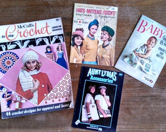Vintage Crochet Patterns, lot of 4