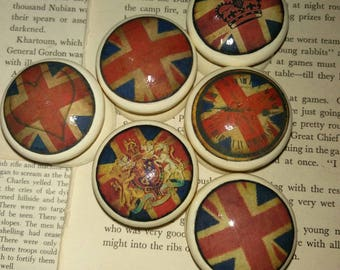 Vintage Union Jack Decoupage Knobs *STOCK CLEARANCE* set of 6 in Cream. 44mm.