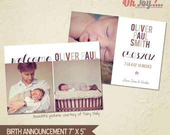 INSTANT DOWNLOAD - Birth announcement card photoshop template 7x5 - BA104