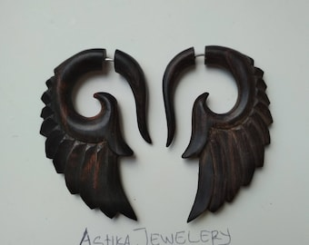 Sono Wood patterns wings ilution Hangers Fake Gauge Earrings