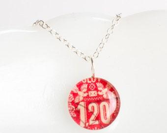 Medium necklace | Postage stamp | Czechoslovakia | Red | Birds