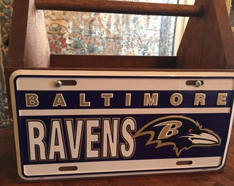 Baltimore Ravens License Plate Solid Wood Tote Box Drink Carrier