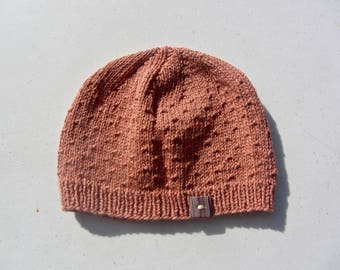Woman's Hand Knit Hat, Pink (One size fits most)