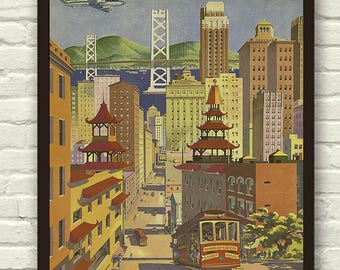 Vintage - San Francisco , United Airlines - Travel  Poster / Print  A4 & A3