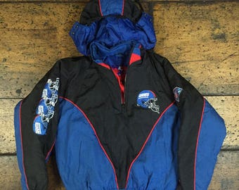 Vintage 90s KIDS New York NY Giants Pro Layer Pull over Half Zip Insulated Parka Jacket NFL Football