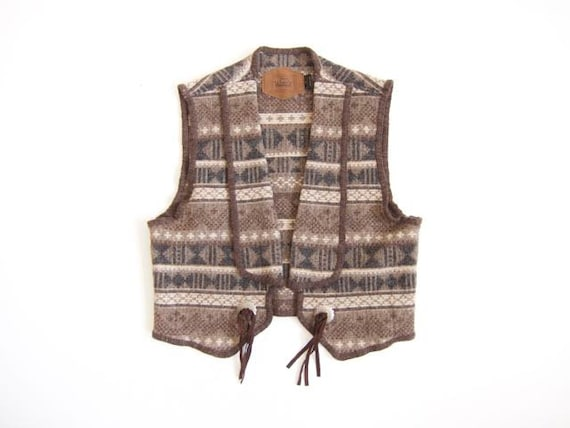 Natural Un-dyed Wool Vest 90s Southwestern Woolrich Vest Top Open Wool Vintage Jacket Brown White Grey Womens Large