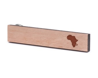 Africa Tie Clip, Wood, Gift For Him, Wedding Gifts, Groomsman Gifts, and Personalized