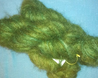 Avocado brushed mohair blend yarn