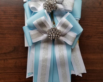 Baby Blue, White, & Silver Glitter Stripe Equestrian Show Bows (Grand Champion Size)