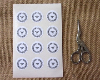 Bee Stickers One Inch Round Seals