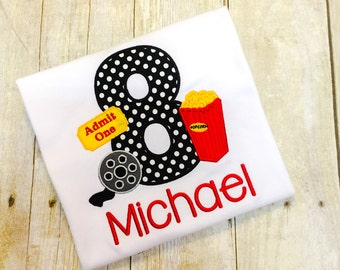 Boys Movie Birthday Shirt - Any Age Available - Movie Birthday - Popcorn Birthday - Movie Themed Shirt or bodysuit