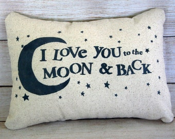 Throw Pillow, Nursery Pillow, Child's Pillow, Love You To The Moon