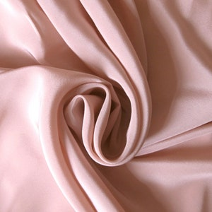"""44"""" wide 100% natural silk crepe de chine, nude pink, by the yard, nude pink crepe de chine fabric, salmon pink silk CDC, pink silk"""
