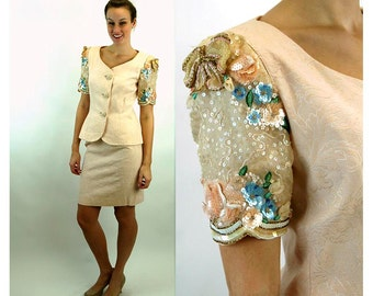 1980s suit sequins and beads peach blush brocade 80s glam Rickie Freeman Size 8