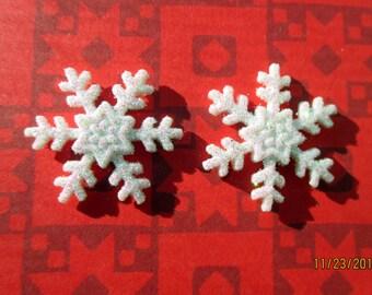 2 sets-Snowflake earrings-Holiday earrings-Snowflake clip on earrings-glittery snowflake studs-Winter earrings-Christmas stocking stuffers