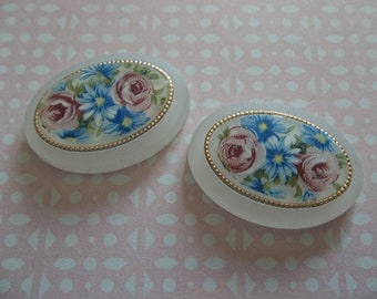 Vintage Cameos - 25X18mm Floral Cabochons on Matte Crystal Base with Gold Rim - Oval German Decal Porcelain Painting with Roses  - Qty 2