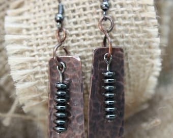 Hematite Tower Earrings