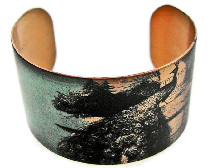 cuff bracelet PEACOCK Vintage style brass Gifts for her