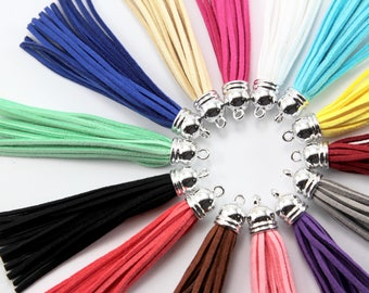 2pc 85mm Suede Tassels /tassel In Silver Cap - Choose Your Colour