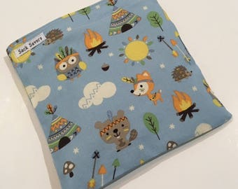 Reusable Sandwich And Or Snack Bag Teepee Owl Woodland Reusable Sandwich Snack Bag You Choose Size