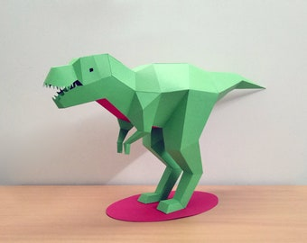 DIY Papercraft Tyrannosaurus Sculpture,T-rex,Dinosaur,Papercraft Sculpture,Lowpoly,Dinosaur model,PDF templates,Paper model,DIY animal