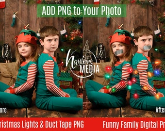 Funny Child, Family Christmas Lights and Duct Tape Digital Prop for Photographers - Transparent PNG Overlay layer to Insert Into Photo
