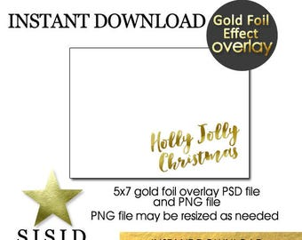 GOLD Foil Christmas Photo Card Overlay Holly Jolly, Holly Jolly Foil Overlay for Holiday Photo Card, INSTANT DOWNLOAD
