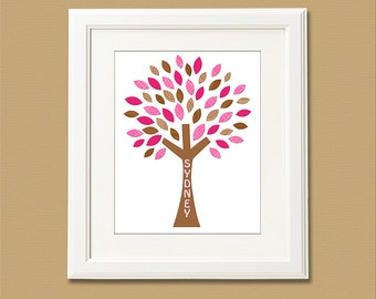 Pink  and brown tree nursery Art Print - 8x10 - Children wall art, Baby Girl Room Decor, kids room decor, personalized, name -  UNFRAMED
