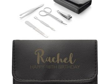 Personalised ENGRAVED 18th birthday manicure set travel kit, Black leather pu manicure case, 5 piece kit, nail clippers, tweezers - MAN-18