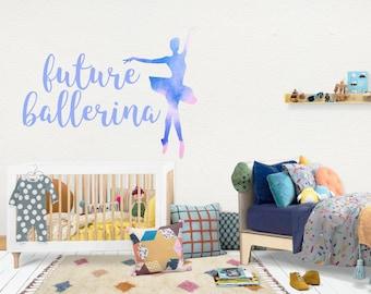 Ballerina / Wall Vinyl Decal Sticker / Nursery Baby Toddler Kid Children Room / Decor Decoration / Gift Present / Personalized Custom