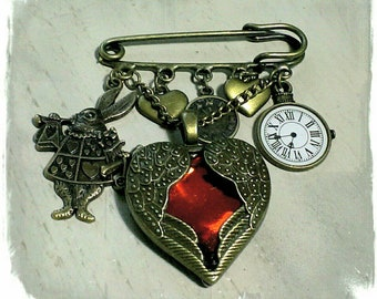 Queen of hearts, Alice in Wonderland kilt pin.