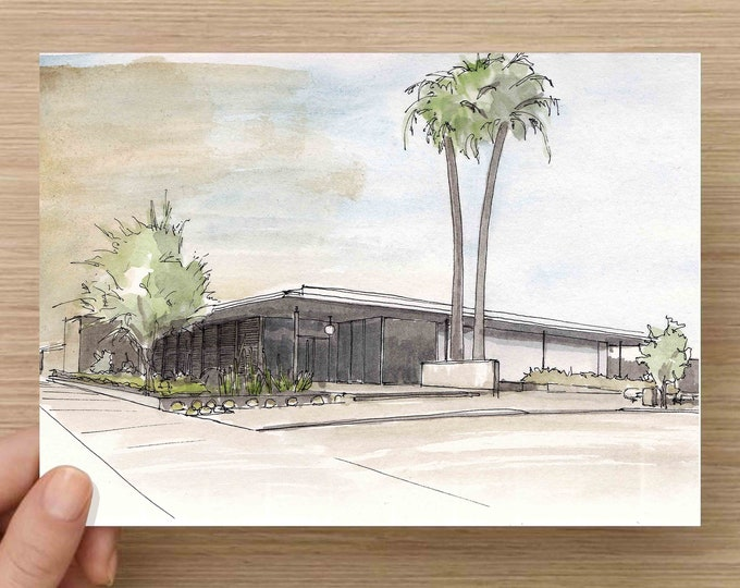 Pen and Ink and Watercolor Painting of Museum of Architecture and Design in Palm Springs, California - Architecture, Drawing, Art