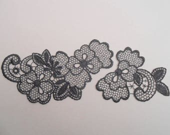 2 dark grey lace appliques