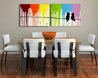 Love Bird Art on Canvas Modern Rainbow Painting for Bedroom