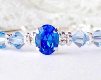 Sapphire blue rhinestone bracelet / sapphire crystal bracelet / September birthstone / girlfriend gift / Swarovski crystal / gift for her