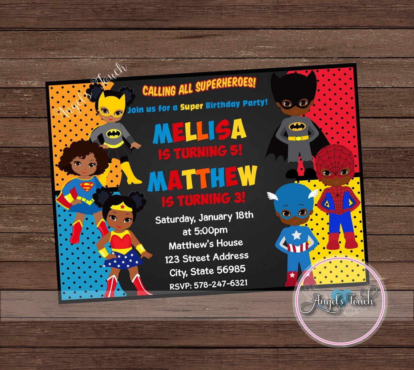 African American Super Hero Party Invitation, Superheroes Birthday ...