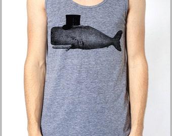 Vintage Top Hat Whale Graphic tee Tank Top American Apparel Men's Women's Tank Top Athletic Grey