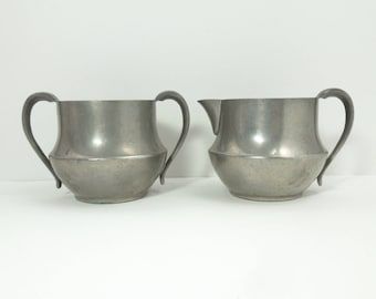 Vintage antique genuine pewter creamer and sugar bowl - Pewter cream pitcher and sugar bowl - Movie props