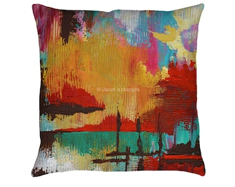 Fire in the Sky Printed Throw Pillow. Cushion Cover, Apartment and Dorm Decor, Sofa Cushion, Modern Art, Abstract Art, Knife Painting, Color