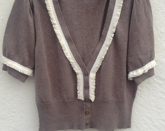 Womens  cropped cardigan size 14 upcycled