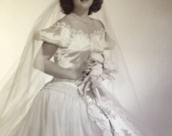 Vintage Bride wedding photo large size 50s era dress veil signed Bachrach