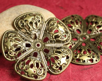 Antique brass large flower wrap dangle 50mm, select your quantity  (item ID ABA518-1)