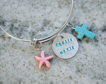 Hand Stamped Charm Bracelet or Necklace: Stella Maris