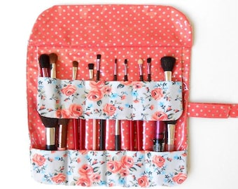 Peach Floral Brush Roll, Makeup Brush Storage, Travel Brush Carrier, Bridesmaid Gift, Cosmetic Pouch, 12 Pockets for Holding Brushes